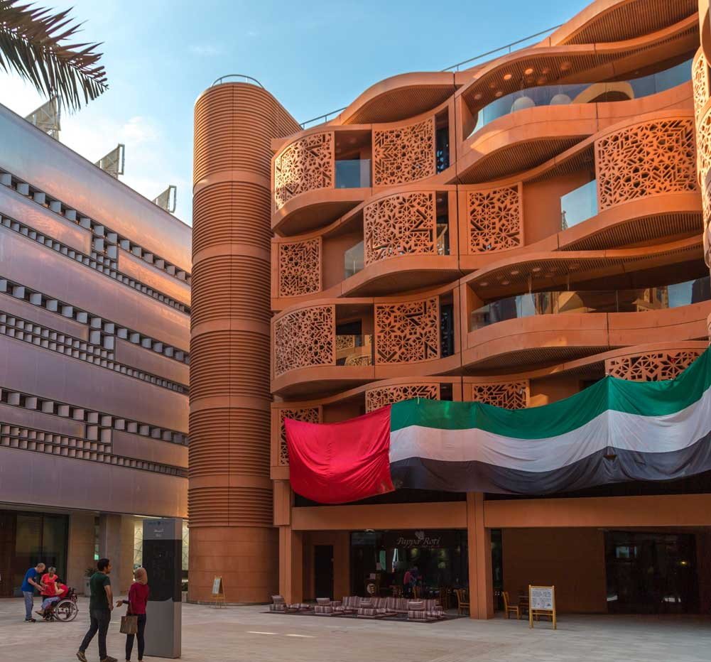 Image of sustainable buildings in Masdar City, Abu Dhabi