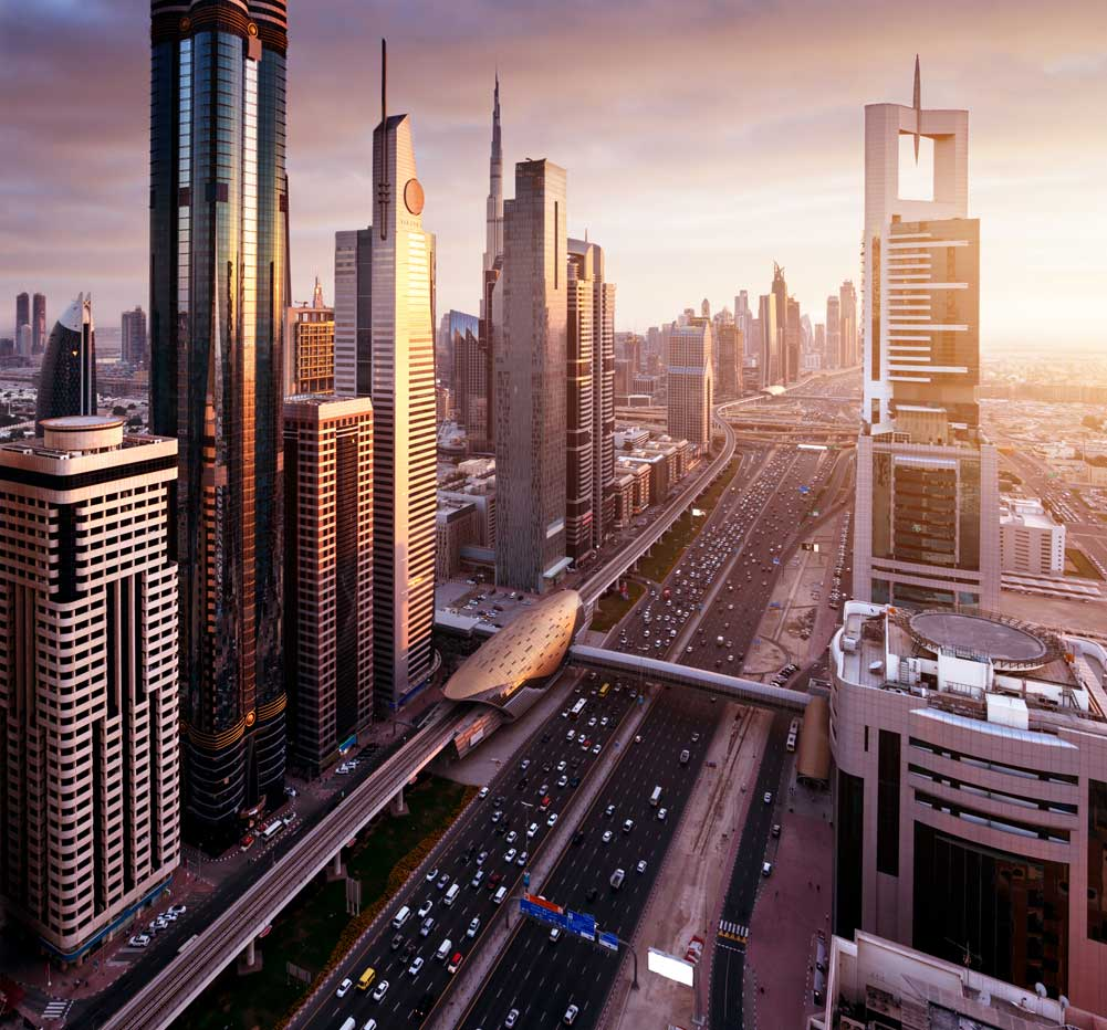 Image of high-rise buildings and street in Dubai